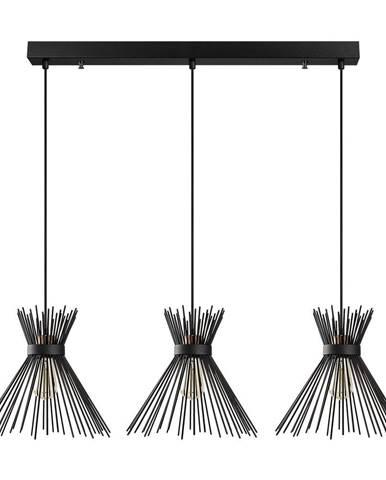 Čierne závesné svietidlo pre 3 žiarovky Opviq lights Kirpi