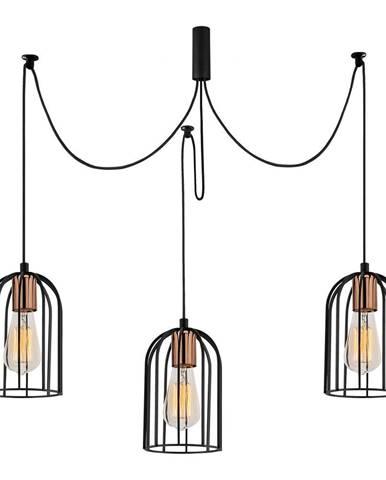 Čierne závesné svietidlo pre 3 žiarovky Opviq lights Pamukkale