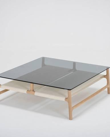 Konferenčný stolík s konštrukciou z masívneho dubového dreva a sivou doskou Gazzda Fawn, 90 x 90cm