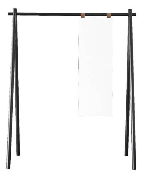 Karup Design Čierny vešiak z borovicového dreva so zrkadlom Karup Design Hongi Black
