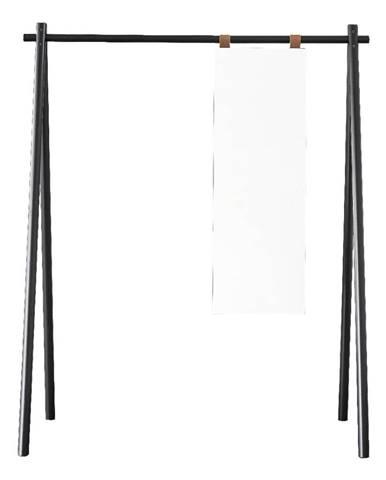 Čierny vešiak z borovicového dreva so zrkadlom Karup Design Hongi Black