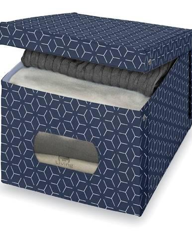 Tmavomodrý úložný box Domopak Metrik Extra Large, 50 x 42 cm