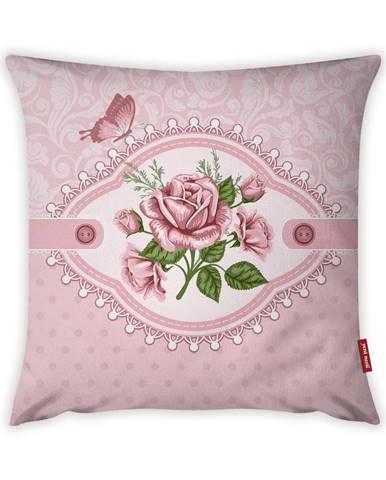 Obliečka na vankúš Vitaus Rustic Vintage Rosa Uno, 43×43 cm