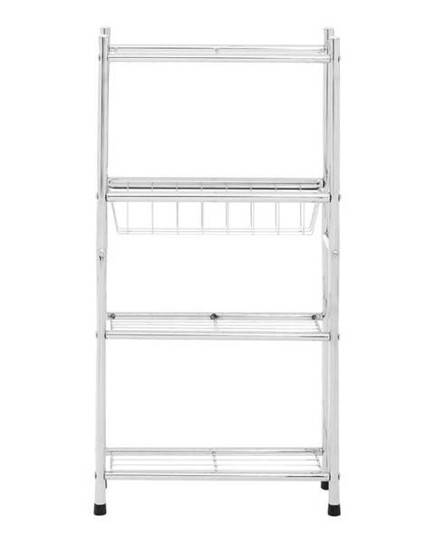 Premier Housewares Biely 4-poschodový úložný regál s policami a košíkom Premier Housewares