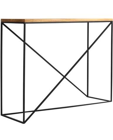 Konzolový stolík s čiernou konštrukciou s doskou z masívneho dubového dreva Custom Form Memo, dĺžka 100 cm