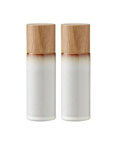 Súprava 2 krémovobielych kameninových mlynčekov na soľ a korenie Bitz Basics Cream