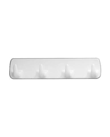 Biely nástenný vešiak so 4 háčikmi Wenko Hook Strip White