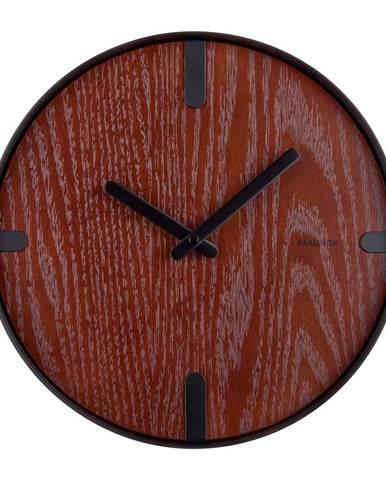 Nástenné hodiny z orechovej dyhy Karlsson Dashed, ø 30 cm