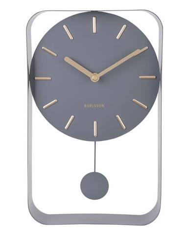 Sivé nástenné hodiny s kyvadlom Karlsson Charm, výška 32,5 cm