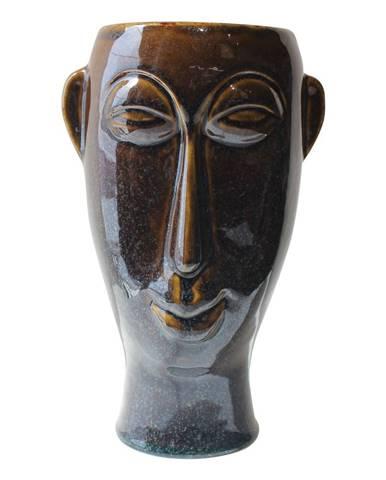Tmavohnedá porcelánová váza PT LIVING Mask, výška 27,2 cm