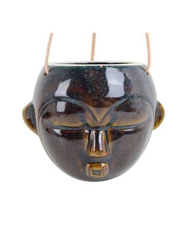Tmavohnedý závesný kvetináč PT LIVING Mask, výška 15,2 cm