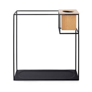 Čierna kovová nástenná polica s kvetináčom Umbra Cubist, 38 x'38 cm