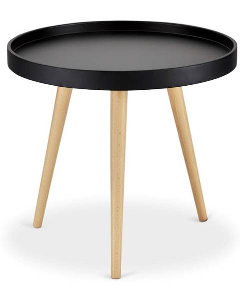 Furnhouse Čierny konferenčný stolík s nohami z bukového dreva FurnhoOpus, Ø 50 cm