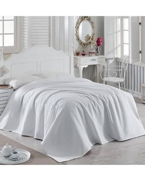 Bonami Biely bavlnený pléd cez posteľ Magnona, 200×240 cm