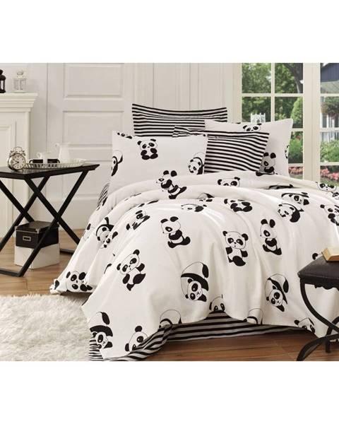 EnLora Home Čierno-biela ľahká bavlnená príkrývka na jednolôžko Panda, 140×200 cm