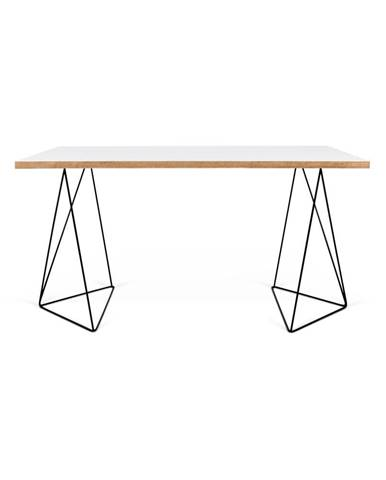 Biely pracovný stôl s čiernymi nohami TemaHome Flow, 140 x 75 cm