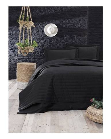 Čierny ľahký prešívaný pléd Mijolnir Monart, 220 × 240 cm