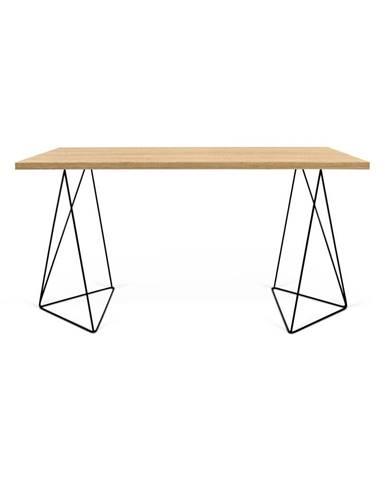 Pracovný stôl v dekore dubového dreva s čiernymi nohami TemaHome Flow, 140 x 75 cm