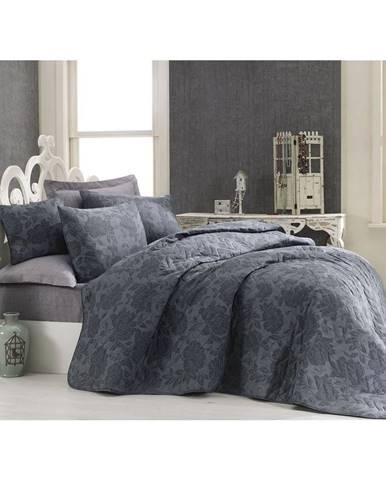 Prešívaný pléd cez posteľ s 2 obliečkami na vankúše Jamie, 200×220 cm
