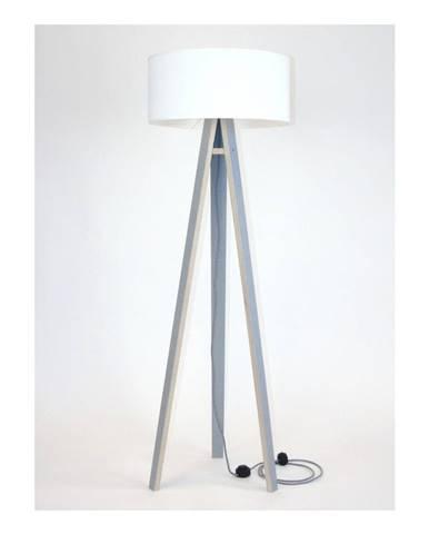 Sivá stojacia lampa s bielym tienidloma čierno-bielym káblom Ragaba Wanda