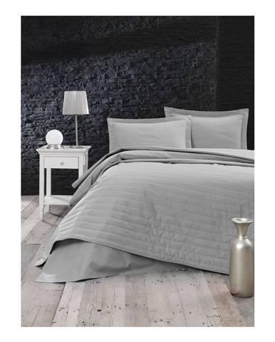 Sivý ľahký prešívaný pléd Mijolnir Monart, 220 × 240 cm
