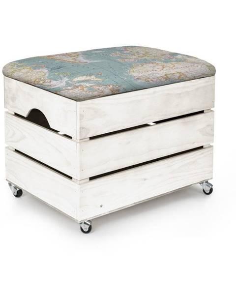 Really Nice Things Biely drevený pojazdný úložný box Really Nice Things
