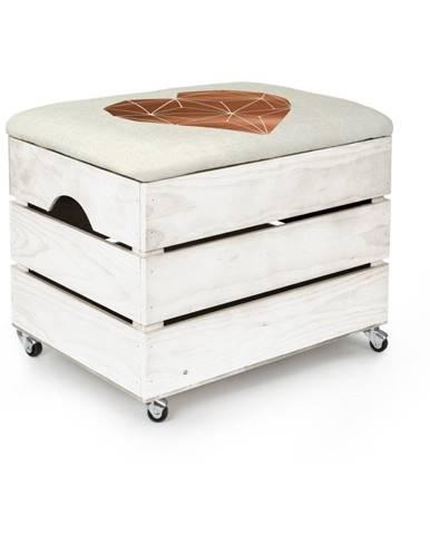 Biely úložný box so sedadlom Really Nice Things Heart, 50×35 cm