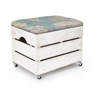 Biely drevený pojazdný úložný box Really Nice Things