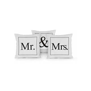 Sada 3 vankúšov Really Nice Things Mr & Mrs, 45x45cm