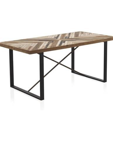 Jedálenský stôl s kovovými nohami a doskou z recyklovaného dreva Geese, 180 x 90 cm