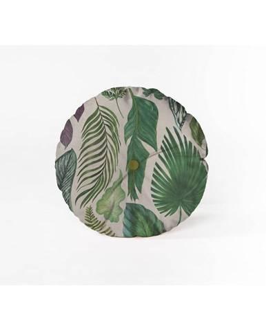Okrúhly dekoratívny vankúš so zamatovým poťahom Velvet Atelier Leaves, ⌀ 45cm