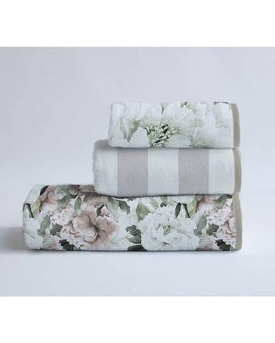 Súprava 3 bavlnených uterákov Velvet Atelier Beige Flowers