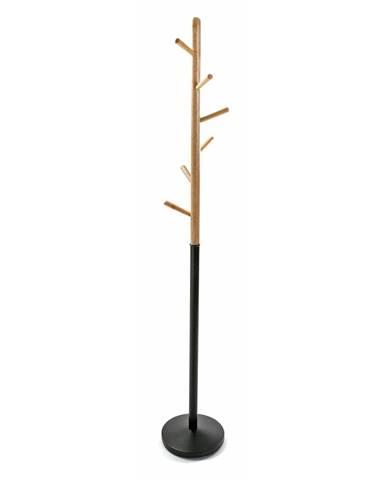 Čierny vešiak s drevenými prvkami VERSA Clothes, výška 180cm