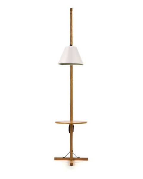 Woodman Biela stojacia lampa s drevenou konštrukciou Woodman Floor