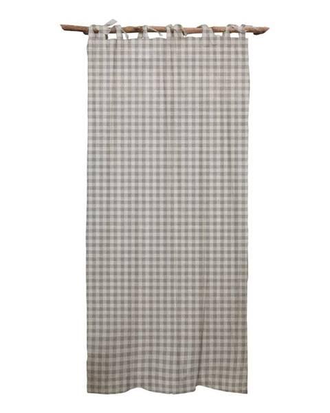 Linen Couture Sivý záves Linen Couture Cuture Cortina Hogar Grey Vichy