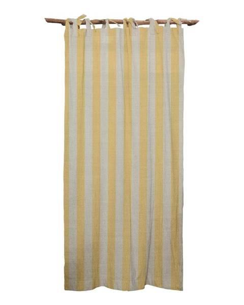Linen Couture Žltý záves Linen Couture Cuture Cortina Hogar Yellow Stripes