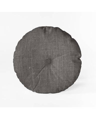 Sivý vankúš Linen Couture Cojin Redondo Cool Grey, ⌀ 45 cm