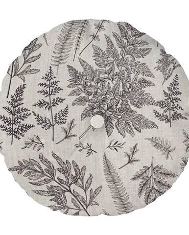 Sivý vankúš Linen Couture Cojin Redondo Grey Leaf, ⌀ 45 cm