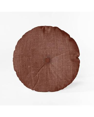 Vínovočervený vankúš Linen Couture Cojin Redondo Burgundy, ⌀ 45 cm