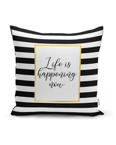 Minimalist Cushion Covers Obliečka na vankúš Minimalist Cushion Covers BW Stripes With Motto, 45 x 45 cm