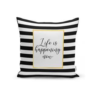 Obliečka na vankúš Minimalist Cushion Covers BW Stripes With Motto, 45 x 45 cm