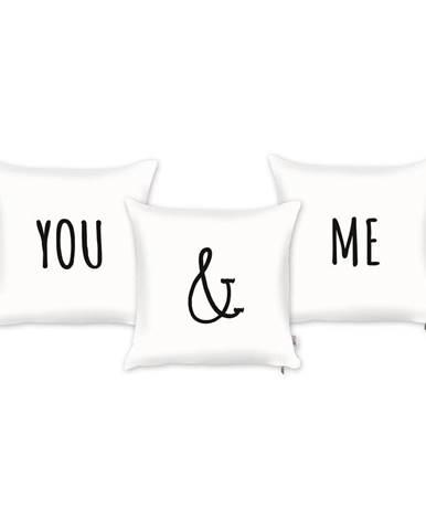 Sada 3 bielych obliečok na vankúš Mike&Co.NEWYORK You And Me, 43 X 43 cm