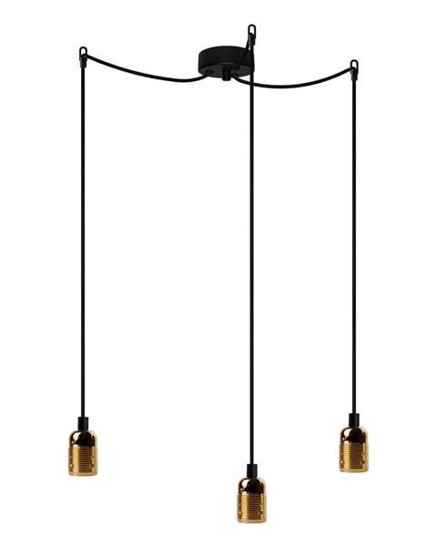 Bulb Attack Čierne trojramenné závesné svietidlo s detailmi v zlatej farbe Bulb Attack Uno Basic