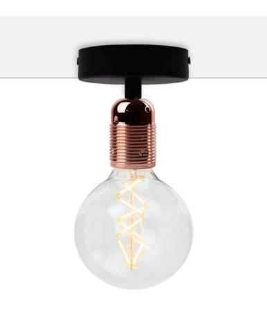 Čierne stropné svietidlo s medenou objímkou Bulb Attack Uno Basic