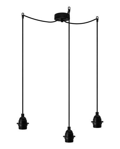Čierne závesné svietidlo s 3 káblami Bulb Attack Uno Primary