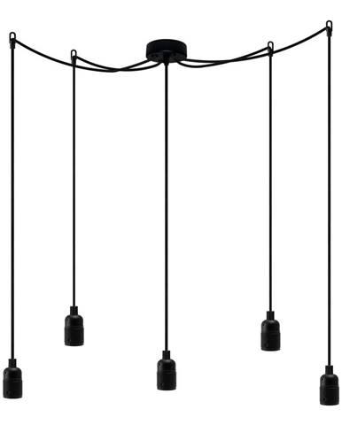 Čierne päťramenné závesné svietidlo Bulb Attack Uno Cassie