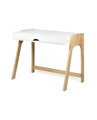 Písací stôl v dekore dubového dreva s bielou doskou TemaHome Aura