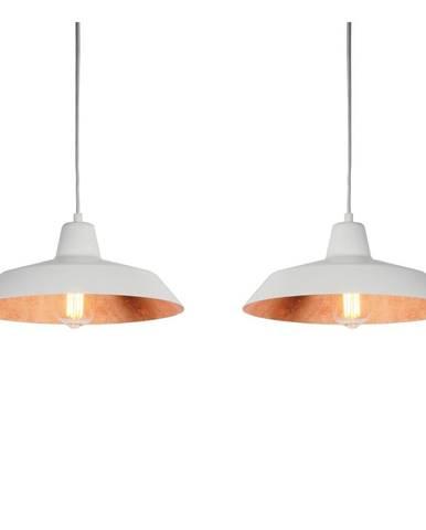 Biele dvojramenné závesné svietidlo s detailmi v medenej farbe Bulb Attack Cinco