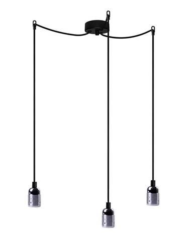 Čierne trojramenné závesné svietidlo s detailami v striebornej farbe Bulb Attack Uno Basic
