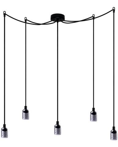 Čierne päťramenné závesné svietidlo s detailmi v striebornej farbe Bulb Attack Uno Cassie